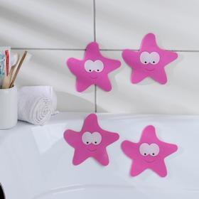 Набор мини-ковриков для ванны «Звёзда», 12×13 см, 4 шт, цвет МИКС Ош