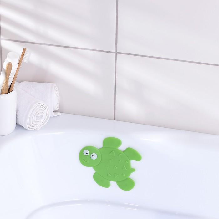 Мини-коврик для ванны Доляна Черепашка, 1113,5 см, цвет зелёный