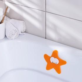Мини-коврик для ванны «Морская звезда», 12×13 см, цвет оранжевый Ош