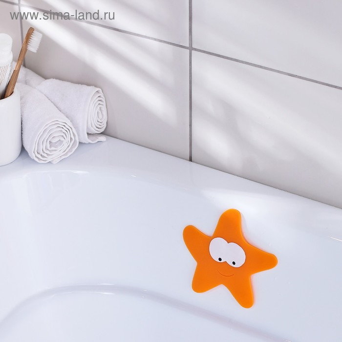 Мини-коврик для ванны «Морская звезда», 12×13 см, цвет оранжевый