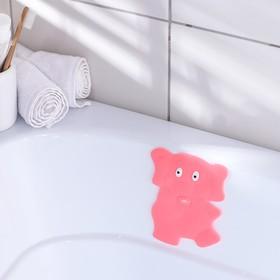 Мини-коврик для ванны «Слон», 11×14 см, цвет розовый Ош
