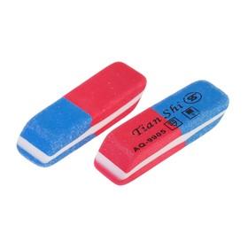 Ластик комбинированный Tian Shi, малый, красный/синий Ош