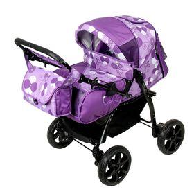 Коляска-трансформер «Гном», пластиковые колёса, оттенки фиолетового, рисунок МИКС Ош