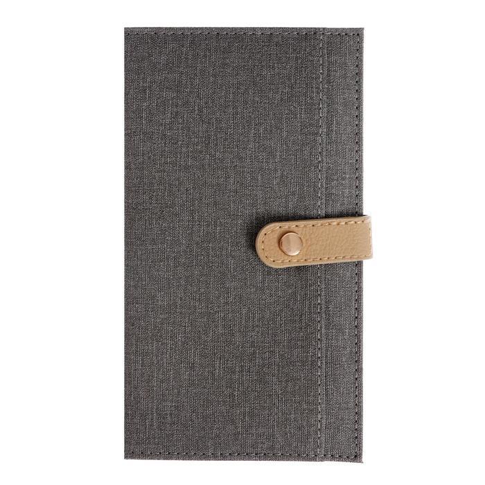 Органайзер формат А6, 64 листа в клетку, с хлястиком, с карманом, обложка искусственная кожа СЕРАЯ