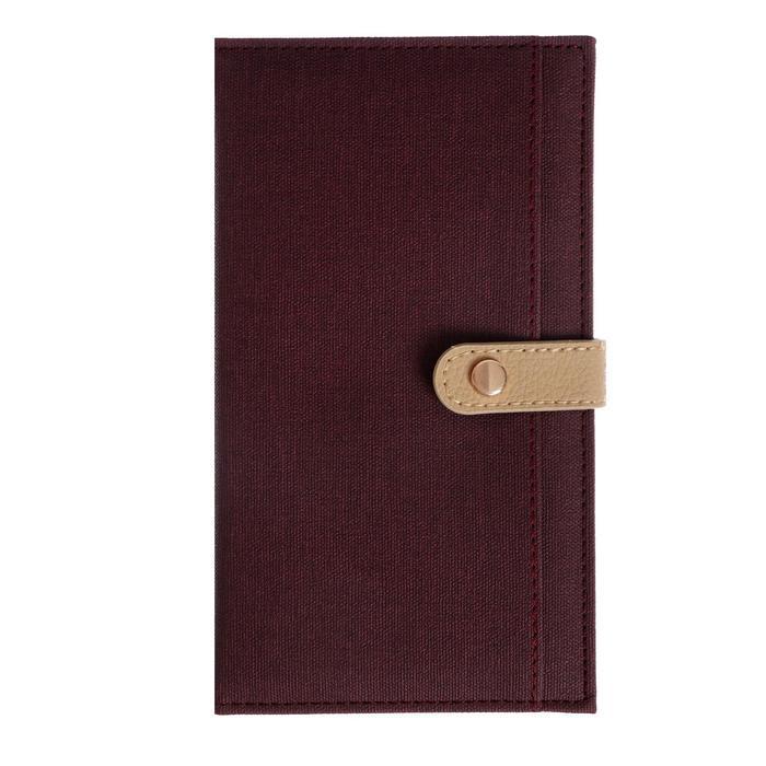 Органайзер формат А6, 64 листа в клетку, с хлястиком, с карманом, обложка искусственная кожа КОРИЧНЕВАЯ