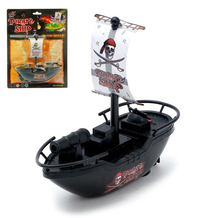 "Катер ""Пиратская лодка"", работает от батареек"