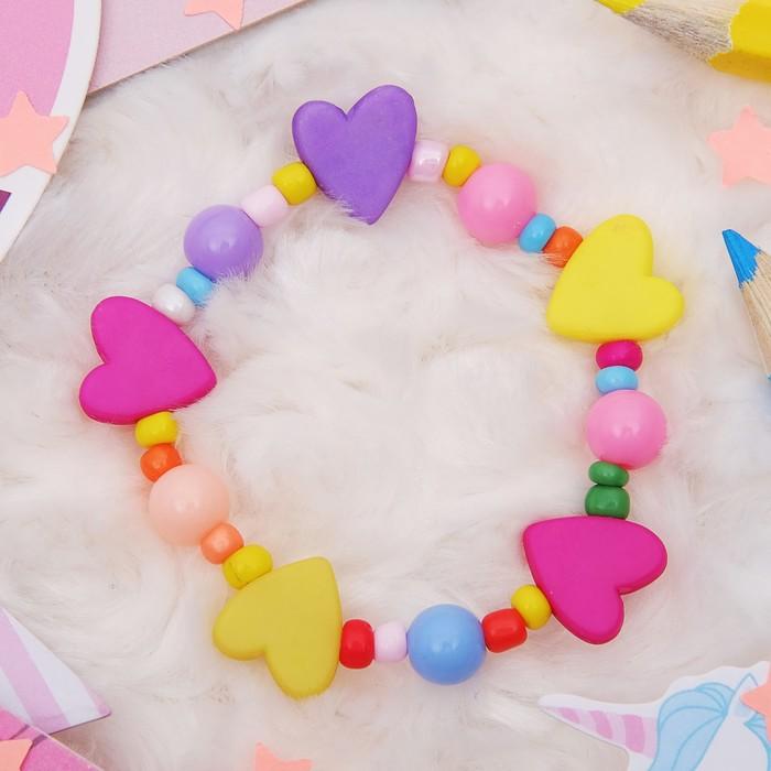 Браслет детский Выбражулька сердечки матовые, цвет МИКС