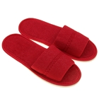 Тапочки махровые открытые, цвет бордо, размер 36-38