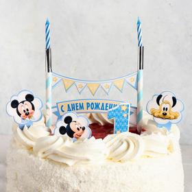 Свеча в торт Дисней '1 годик' 2 свечи + топперы, Микки Маус Ош