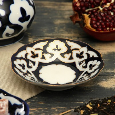 Тарелка круглая «Пахта в золоте», 13 см, белая - Фото 1