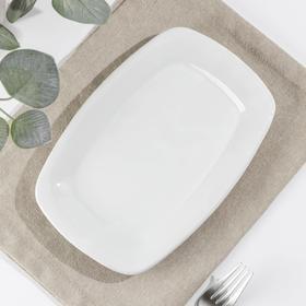"""Тарелка прямоугольная 22,5 см """"Классика"""", цвет белый"""