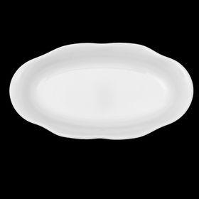 Тарелка 18 см «Классика. Лимонник», овальная, цвет белый
