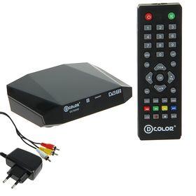 Приставка для цифрового ТВ D-COLOR DC705HD, FullHD, DVB-T2, HDMI, RCA, USB, черная Ош