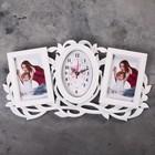 """Часы настенные, серия: Фото, """"Веточка"""", 2 фоторамки, белые, 24х48 см, микс"""