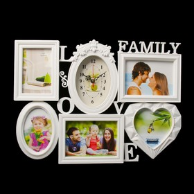 Часы настенные, серия: Фото, 'Family Love', 5 фоторамок, белые, 38х54 см, микс Ош