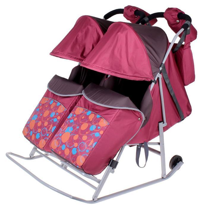 Санки-коляска для двойни «Кружочки», цвет бордовый