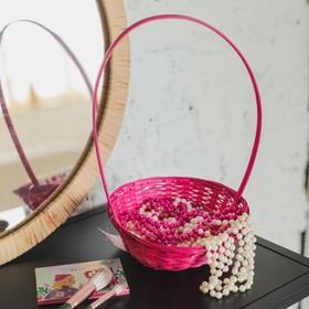 Корзина плетёная, бамбук, розовая, низкая Ош