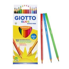 Карандаши пластиковые 12 цветов GIOTTO Elios Tri, 7.5/3.3 мм, трёхгранные