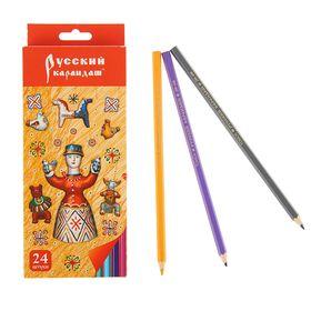 """Карандаши 24 цвета """"Русский карандаш. Фольклор"""", шестигранные, длина 175мм, ok 6.4мм"""