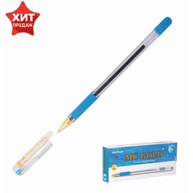 Ручка шариковая MunHwa MC Gold, резиновый грип, чернила голубые, узел 0.5мм