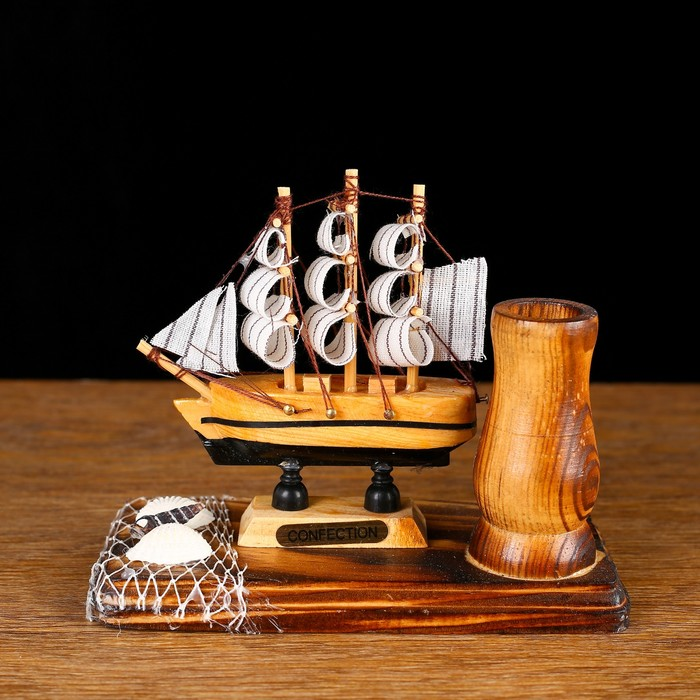 Набор настольный «Корабль» с подставкой для ручек, 12 х 13 х 6 см