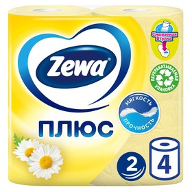 Туалетная бумага Zewa Плюс «Ромашка», 2 слоя, 4 шт.