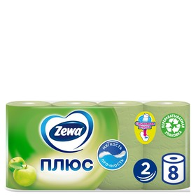 Туалетная бумага Zewa Плюс «Яблоко», 2 слоя, 8 рулонов