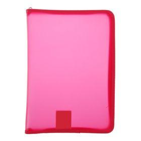 Папка пластиковая А4, молния вокруг, 'Офис', цветная, тонированная, розовая Ош