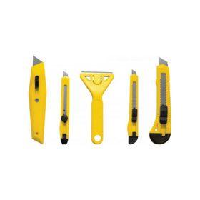 Набор ножей универсальных FIT, 5шт, ножи 9/18 мм, с трапециевидным лезвием, скребок, пластик