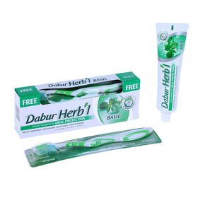 Набор Dabur Herb'l базилик зубная паста, 150 г + зубная щётка