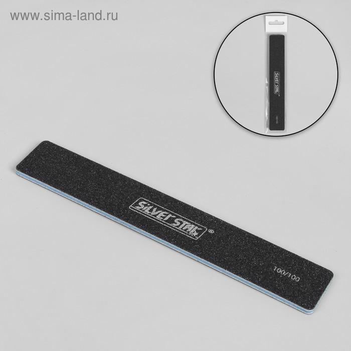 Пилка-наждак для ногтей, абразивность 100/100, 18 см, цвет чёрный
