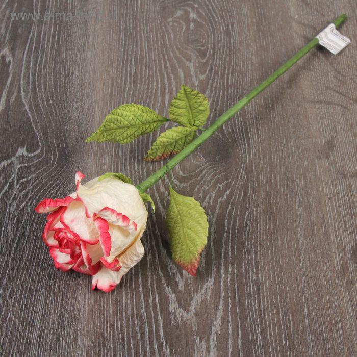 """Декоративный цветок """"Бело-розовая роза"""""""