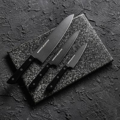 Набор кухонных ножей Shаdоw, 3 шт: лезвие 10 см, 12 см, 20 см, с покрытием Blаck Fusо - Фото 1