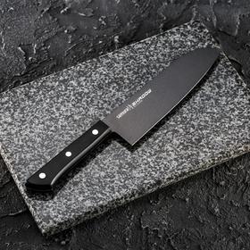 Нож кухонный Samura SHADOW сантоку, лезвие 17,5 см, с покрытием BLACK-COATING