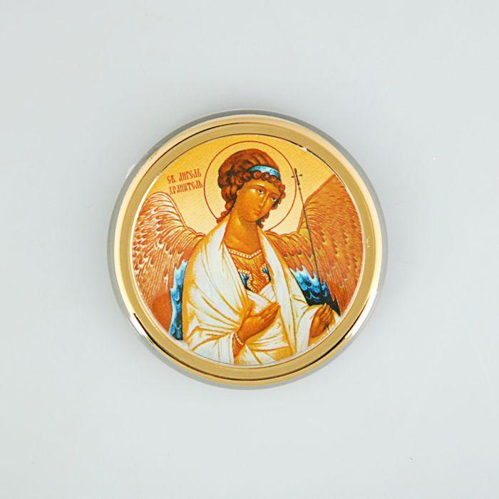 """Икона в авто """"Ангел Хранитель"""",золоченая, липкая лента, D=4 см"""