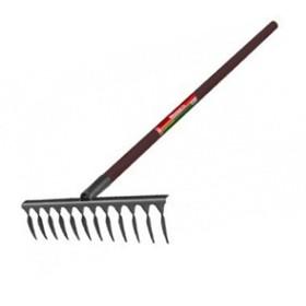 Грабли прямые, повёрнутый зуб, 12 зубцов, металл, деревянный черенок
