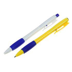 Ручка шариковая, автоматическая, 0.7 мм, стержень синий, корпус с резиновым держателем, МИКС