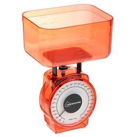 Весы кухонные HOMESTAR HS-3004М, механические, до 1 кг, чаша 0.5 л, красные Ош