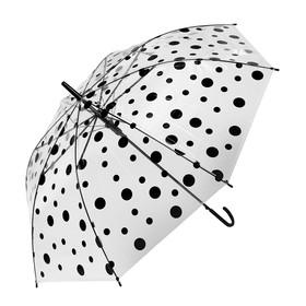 Зонт детский «Горохи», полуавтоматический, r=45см, цвет прозрачный/чёрный Ош