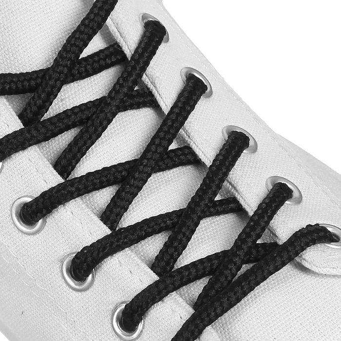 Шнурки для обуви, круглые, d 4 мм, 90 см, пара, цвет чёрный