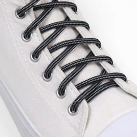 Шнурки для обуви, круглые, d = 4,5 мм, 110 см, пара, цвет чёрно-серый Ош