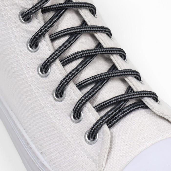 Шнурки для обуви, круглые, d 4,5 мм, 110 см, пара, цвет чёрно-серый