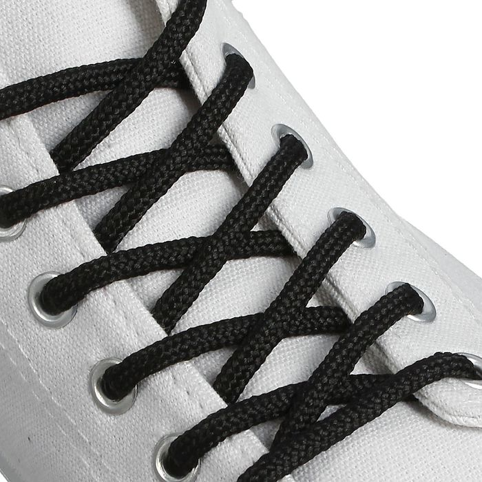 Шнурки для обуви круглые, d 4 мм, 120 см, пара, цвет чёрный