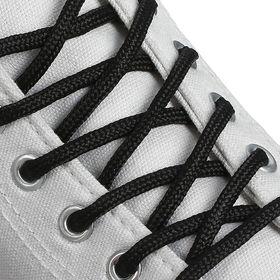 Шнурки для обуви круглые, d = 4,5 мм, 130 см, пара, цвет чёрный Ош