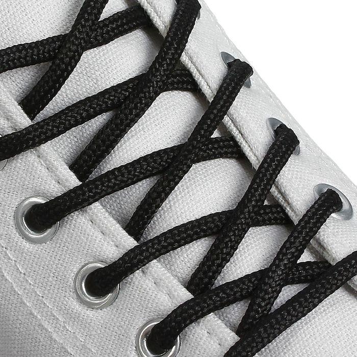 Шнурки для обуви круглые, d = 4,5 мм, 130 см, пара, цвет чёрный