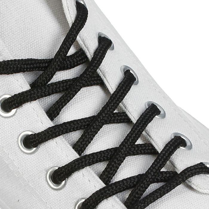 Шнурки для обуви круглые, d 4,5 мм, 150 см, пара, цвет чёрный