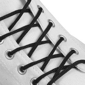 Шнурки для обуви круглые, d = 3 мм, 70 см, цвет чёрный