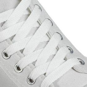 Шнурки для обуви плоские, 8 мм, 90 см, цвет белый Ош