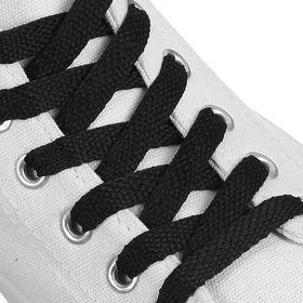 Шнурки для обуви плоские, 8 мм, 70 см, цвет чёрный Ош