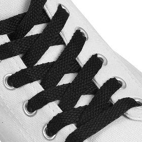 Шнурки для обуви плоские, 8 мм, 90 см, цвет чёрный Ош